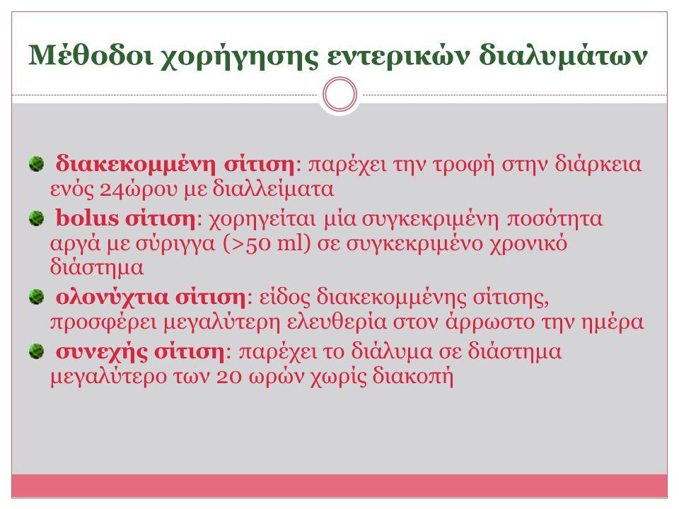 Μέθοδοι χορήγησης εντερικών διαλυμάτων διακεκομμένη σίτιση: παρέχει την τροφή στην διάρκεια ενός 24ώρου με διαλλείματα bolus σίτιση: χορηγείται μία συ