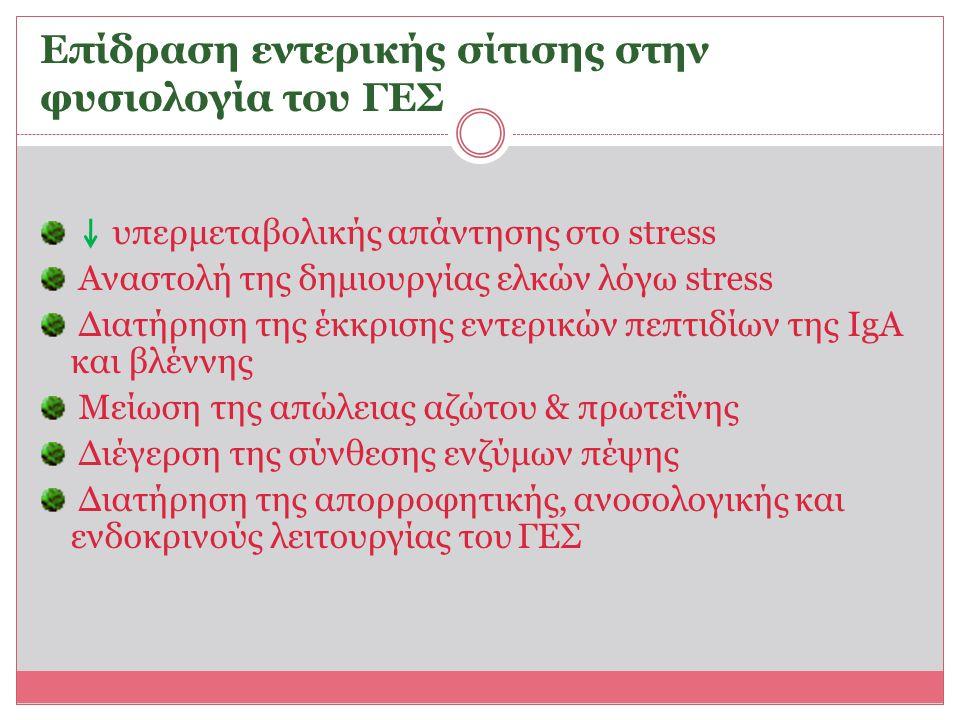 Επίδραση εντερικής σίτισης στην φυσιολογία του ΓΕΣ υπερμεταβολικής απάντησης στο stress Αναστολή της δημιουργίας ελκών λόγω stress Διατήρηση της έκκρι