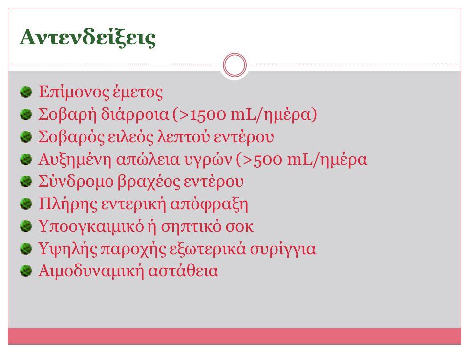 Αντενδείξεις Επίμονος έμετος Σοβαρή διάρροια (>1500 mL/ημέρα) Σοβαρός ειλεός λεπτού εντέρου Αυξημένη απώλεια υγρών (>500 mL/ημέρα Σύνδρομο βραχέος εντ