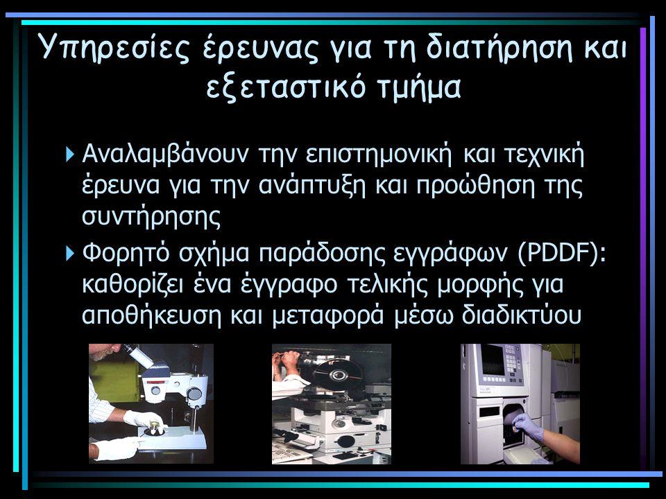 Υπηρεσίες έρευνας για τη διατήρηση και εξεταστικό τμήμα  Αναλαμβάνουν την επιστημονική και τεχνική έρευνα για την ανάπτυξη και προώθηση της συντήρησης  Φορητό σχήμα παράδοσης εγγράφων (PDDF): καθορίζει ένα έγγραφο τελικής μορφής για αποθήκευση και μεταφορά μέσω διαδικτύου