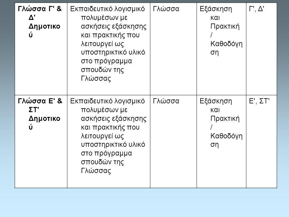 Γλώσσα Γ & Δ Δημοτικο ύ Εκπαιδευτικό λογισμικό πολυμέσων με ασκήσεις εξάσκησης και πρακτικής που λειτουργεί ως υποστηρικτικό υλικό στο πρόγραμμα σπουδών της Γλώσσας ΓλώσσαΕξάσκηση και Πρακτική / Καθοδόγη ση Γ , Δ Γλώσσα Ε & ΣΤ Δημοτικο ύ Εκπαιδευτικό λογισμικό πολυμέσων με ασκήσεις εξάσκησης και πρακτικής που λειτουργεί ως υποστηρικτικό υλικό στο πρόγραμμα σπουδών της Γλώσσας ΓλώσσαΕξάσκηση και Πρακτική / Καθοδόγη ση Ε , ΣΤ