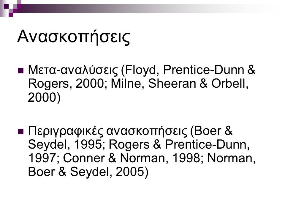 Ανασκοπήσεις Μετα-αναλύσεις (Floyd, Prentice-Dunn & Rogers, 2000; Milne, Sheeran & Orbell, 2000) Περιγραφικές ανασκοπήσεις (Boer & Seydel, 1995; Rogers & Prentice-Dunn, 1997; Conner & Norman, 1998; Norman, Boer & Seydel, 2005)