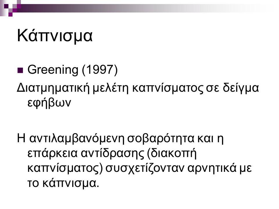 Κάπνισμα Greening (1997) Διατμηματική μελέτη καπνίσματος σε δείγμα εφήβων Η αντιλαμβανόμενη σοβαρότητα και η επάρκεια αντίδρασης (διακοπή καπνίσματος) συσχετίζονταν αρνητικά με το κάπνισμα.