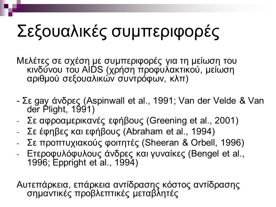 Σεξουαλικές συμπεριφορές Μελέτες σε σχέση με συμπεριφορές για τη μείωση του κινδύνου του AIDS (χρήση προφυλακτικού, μείωση αριθμού σεξουαλικών συντρόφων, κλπ) - Σε gay άνδρες (Aspinwall et al., 1991; Van der Velde & Van der Plight, 1991) - Σε αφροαμερικανές εφήβους (Greening et al., 2001) - Σε έφηβες και εφήβους (Abraham et al., 1994) - Σε προπτυχιακούς φοιτητές (Sheeran & Orbell, 1996) - Ετεροφυλόφυλους άνδρες και γυναίκες (Bengel et al., 1996; Eppright et al., 1994) Αυτεπάρκεια, επάρκεια αντίδρασης κόστος αντίδρασης σημαντικές προβλεπτικές μεταβλητές