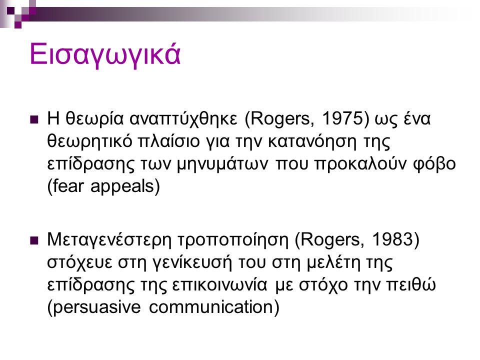 Εισαγωγικά Η θεωρία αναπτύχθηκε (Rogers, 1975) ως ένα θεωρητικό πλαίσιο για την κατανόηση της επίδρασης των μηνυμάτων που προκαλούν φόβο (fear appeals) Μεταγενέστερη τροποποίηση (Rogers, 1983) στόχευε στη γενίκευσή του στη μελέτη της επίδρασης της επικοινωνία με στόχο την πειθώ (persuasive communication)
