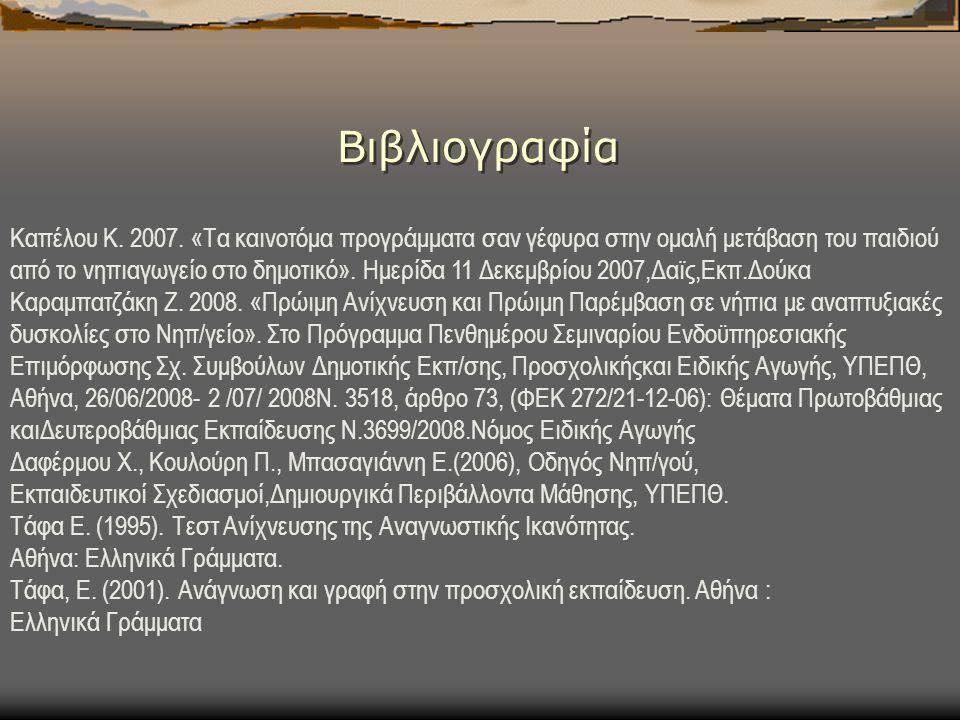 Βιβλιογραφία Καπέλου Κ.2007.