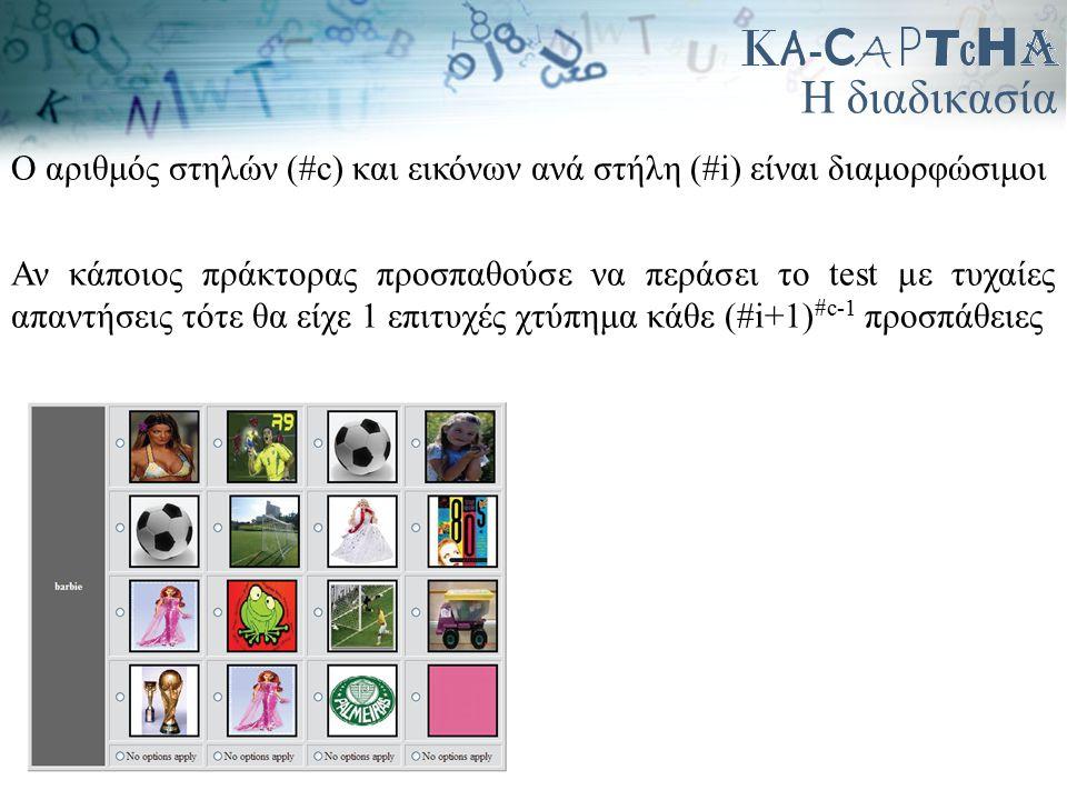 Η διαδικασία Ο αριθμός στηλών (#c) και εικόνων ανά στήλη (#i) είναι διαμορφώσιμοι Αν κάποιος πράκτορας προσπαθούσε να περάσει το test με τυχαίες απαντ