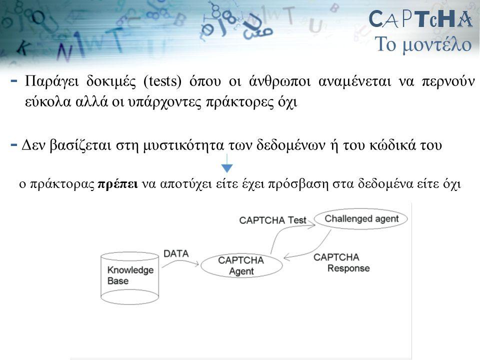 Το μοντέλο - Παράγει δοκιμές (tests) όπου οι άνθρωποι αναμένεται να περνούν εύκολα αλλά οι υπάρχοντες πράκτορες όχι - Δεν βασίζεται στη μυστικότητα τω