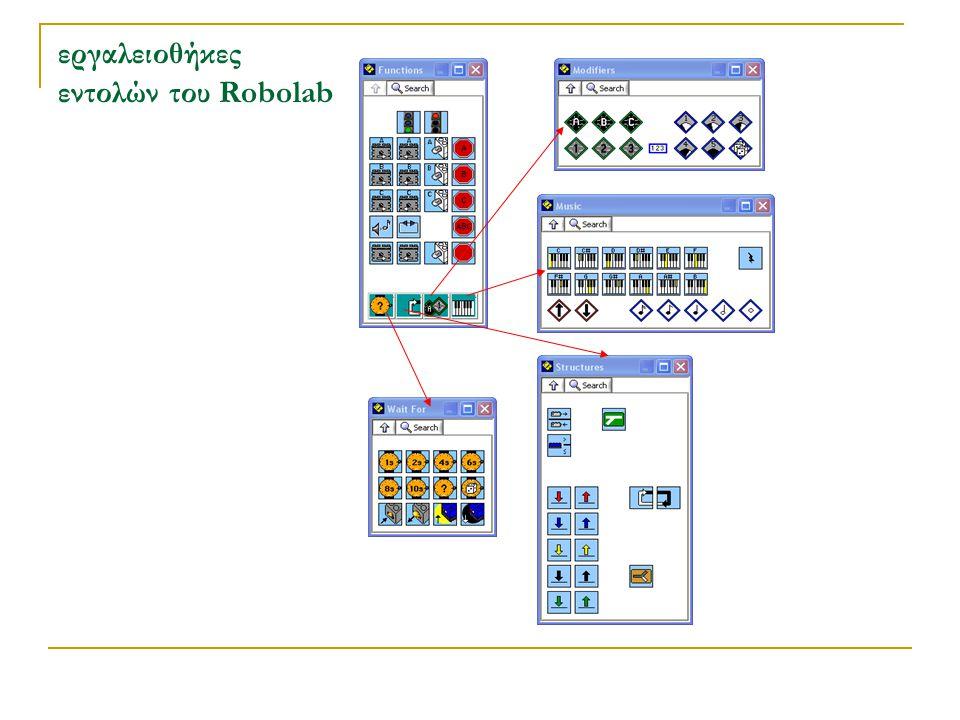 πλεονεκτήματα από τη χρήση του λογισμικού Robolab η διδασκαλία του προγραμματισμού δεν ακολουθεί το τυπικό μοντέλο διδασκαλίας αλλά μια κατασκευαστική προσέγγιση (Τσοβόλας Σ.