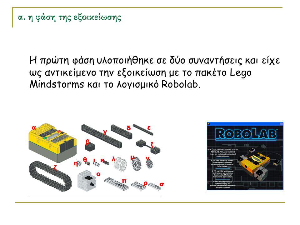 α. η φάση της εξοικείωσης Η πρώτη φάση υλοποιήθηκε σε δύο συναντήσεις και είχε ως αντικείμενο την εξοικείωση με το πακέτο Lego Mindstorms και το λογισ