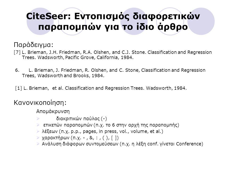 CiteSeer: Εντοπισμός διαφορετικών παραπομπών για το ίδιο άρθρο Παράδειγμα: [7] L.