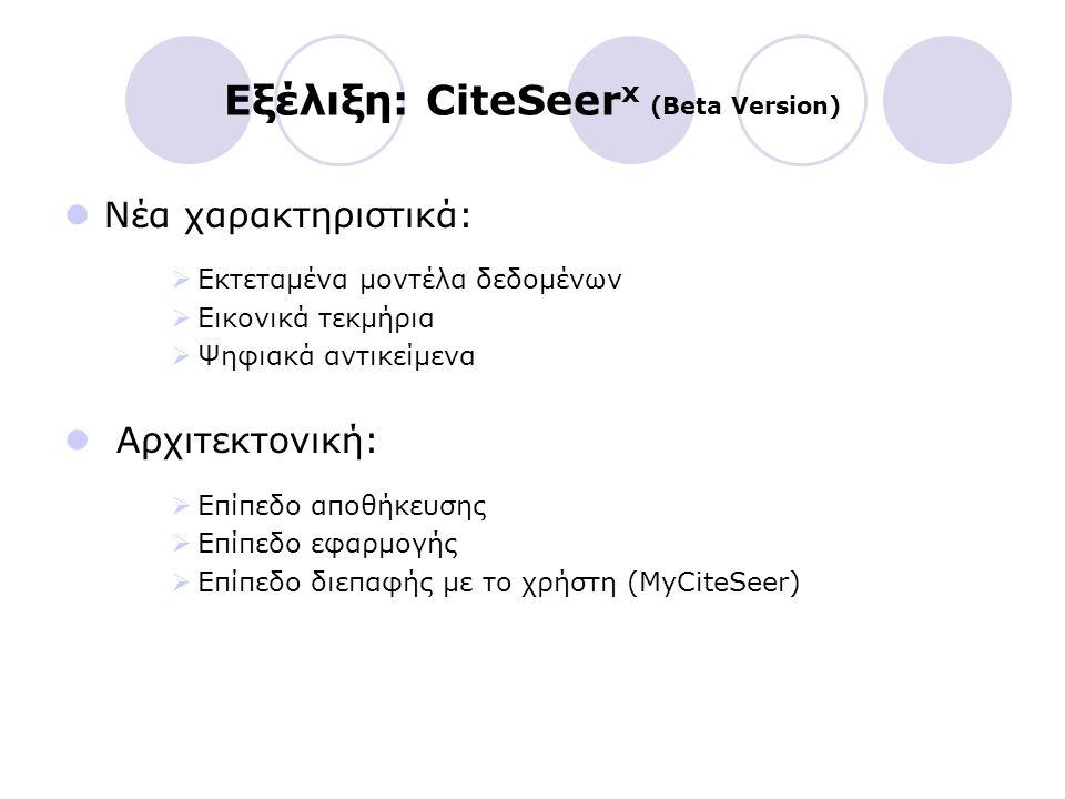 Εξέλιξη: CiteSeer x (Beta Version) Νέα χαρακτηριστικά:  Εκτεταμένα μοντέλα δεδομένων  Εικονικά τεκμήρια  Ψηφιακά αντικείμενα Αρχιτεκτονική:  Επίπε