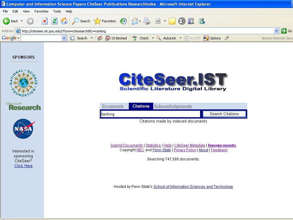 Εξέλιξη: CiteSeer x (Beta Version) Νέα χαρακτηριστικά:  Εκτεταμένα μοντέλα δεδομένων  Εικονικά τεκμήρια  Ψηφιακά αντικείμενα Αρχιτεκτονική:  Επίπεδο αποθήκευσης  Επίπεδο εφαρμογής  Επίπεδο διεπαφής με το χρήστη (MyCiteSeer)