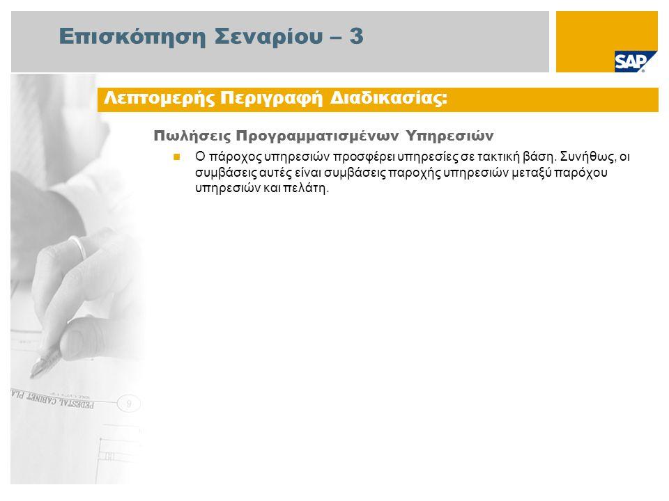 Διάγραμμα Ροής Εργασιών Πωλήσεις Προγραμματισμένων Υπηρεσιών Συντηρητής Υπάλληλος του Σέρβις Διαχείριση Πωλήσεων Γεγονός Λογαριασμοί Πληρωτέων Τακτοπ.Εν τολών Υπηρεσίας (189) Δημιουργία Σύμβασης Πελάτη Δημιουργία Γενικής Εντολής Αγοράς Δημιουργία Προγράμματος Συντήρησης Χρονοδιάγραμμ α του Προγράμματος Συντήρησης Εμφάνιση του Προγράμματος Συντήρησης Εμφάνιση της Λίστας Επισκόπησης Χρονοπρ/σμού Αλλαγή της Εντολής Υπηρεσίας Συντήρηση Φύλλου Καταχώρισης Υπηρεσίας Έγκριση Φύλλου Καταχώρισης Υπηρεσίας Ελεγχος Τιμολογίου Δημιουργία Αίτησης Τιμολόγησης Κλείσιμο της Εντολής Υπηρεσίας – Τεχνική Ολοκλήρωση Παραγγελία: Αντιστοιχισμέ νη Αίτηση Αγοράς Δημιουργία Παραστατικού Τιμολόγησης Κλείσιμο Εντολής Υπηρ.– Επιχ.Προβ ολή (189)