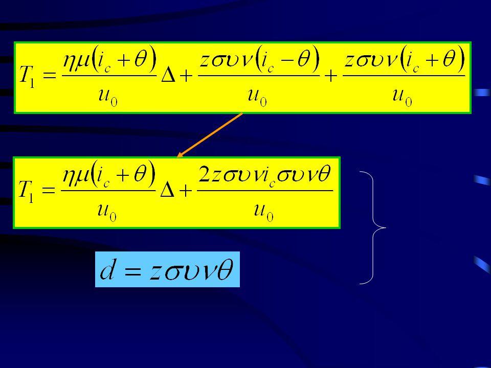 Υπολογισμός παχών με τoν Χρόνο Συνάντησης Τ i 1/u 0 TiTi Δ