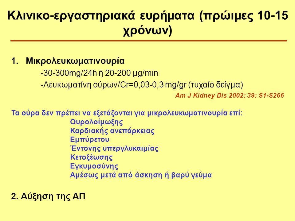 1.Μικρολευκωματινουρία -30-300mg/24h ή 20-200 μg/min -Λευκωματίνη ούρων/Cr=0,03-0,3 mg/gr (τυχαίο δείγμα) Am J Kidney Dis 2002; 39: S1-S266 Τα ούρα δε