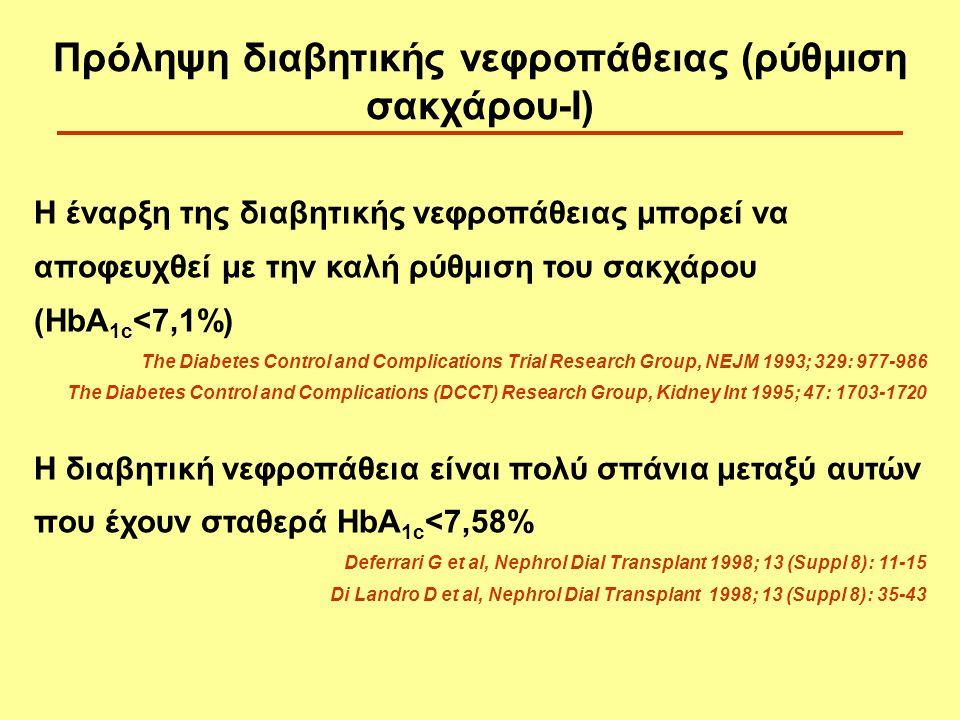Η έναρξη της διαβητικής νεφροπάθειας μπορεί να αποφευχθεί με την καλή ρύθμιση του σακχάρου (HbA 1c <7,1%) The Diabetes Control and Complications Trial