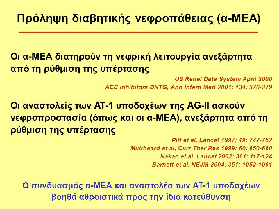 Οι α-ΜΕΑ διατηρούν τη νεφρική λειτουργία ανεξάρτητα από τη ρύθμιση της υπέρτασης US Renal Data System April 2000 ACE inhibitors DNTG, Ann Intern Med 2