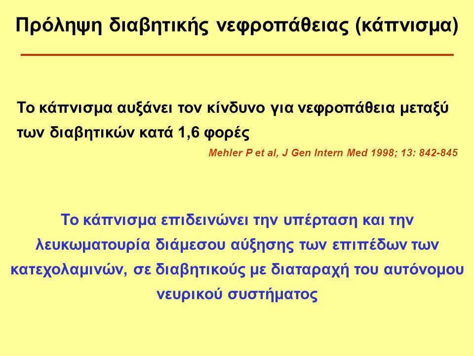 Το κάπνισμα αυξάνει τον κίνδυνο για νεφροπάθεια μεταξύ των διαβητικών κατά 1,6 φορές Mehler P et al, J Gen Intern Med 1998; 13: 842-845 Το κάπνισμα επ