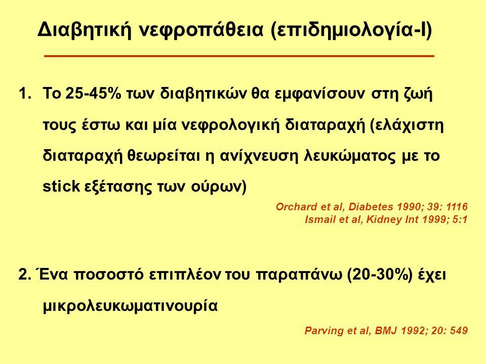 Άπαξ και εμφανισθεί μακρολευκωματινουρία αναμένεται πτώση του GFR περίπου κατά 10% ετησίως (τελικό στάδιο ΧΝΑ μέσα σε 7 χρόνια) Parving, Kidney Int 2001;60: 2041-2055 Ritz E et al, Nephrol Dial Transplant 2001; 16: 11-18 Evans TC & Capell P, 2000 Σε διαβητικούς τύπου 1, από αυτούς που θα εμφανίσουν νεφροπάθεια (40%), τελικό στάδιο εμφανίζει το 50% μέσα σε 10 χρόνια και το 75% μέσα σε 20 χρόνια χωρίς καμία ιατρική παρέμβαση Διαβητική νεφροπάθεια (επιδημιολογία-ΙΙ) Το 20-30% των διαβητικών θα εμφανίσουν τελικό στάδιο ΧΝΑ