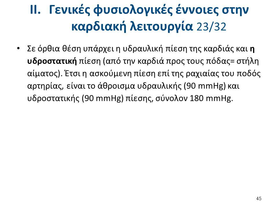 II.Γενικές φυσιολογικές έννοιες στην καρδιακή λειτουργία 23/32 Σε όρθια θέση υπάρχει η υδραυλική πίεση της καρδιάς και η υδροστατική πίεση (από την κα
