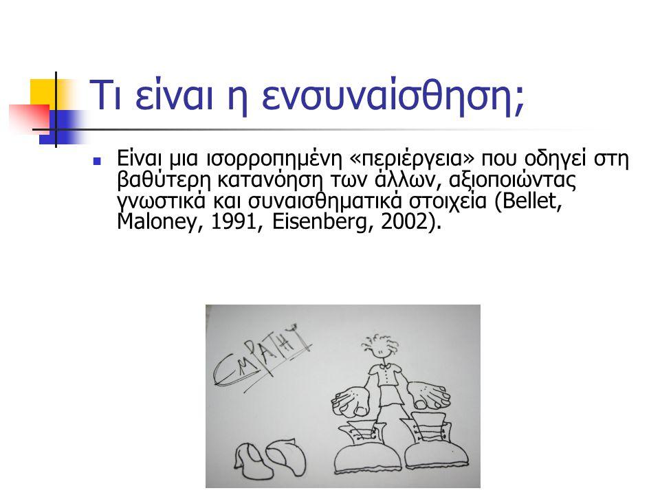 Τι είναι η ενσυναίσθηση; Είναι μια ισορροπημένη «περιέργεια» που οδηγεί στη βαθύτερη κατανόηση των άλλων, αξιοποιώντας γνωστικά και συναισθηματικά στοιχεία (Bellet, Maloney, 1991, Eisenberg, 2002).