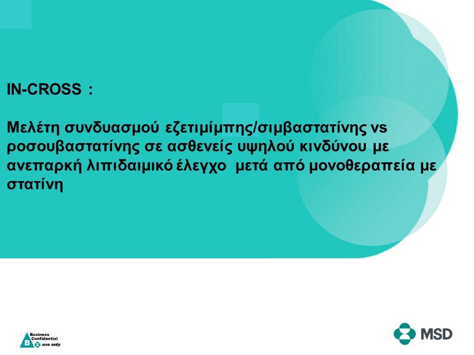 IN-CROSS : Μελέτη συνδυασμού εζετιμίμπης/σιμβαστατίνης vs ροσουβαστατίνης σε ασθενείς υψηλού κινδύνου με ανεπαρκή λιπιδαιμικό έλεγχο μετά από μονοθεραπεία με στατίνη