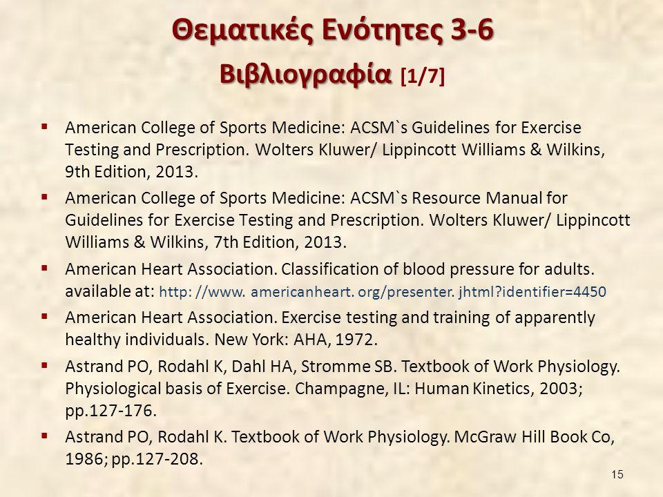 Θεματικές Ενότητες 3-6 Βιβλιογραφία Θεματικές Ενότητες 3-6 Βιβλιογραφία [1/7]  American College of Sports Medicine: ACSM`s Guidelines for Exercise Testing and Prescription.