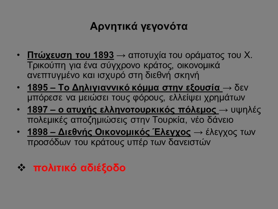 Αρνητικά γεγονότα Πτώχευση του 1893 → αποτυχία του οράματος του Χ. Τρικούπη για ένα σύγχρονο κράτος, οικονομικά ανεπτυγμένο και ισχυρό στη διεθνή σκην