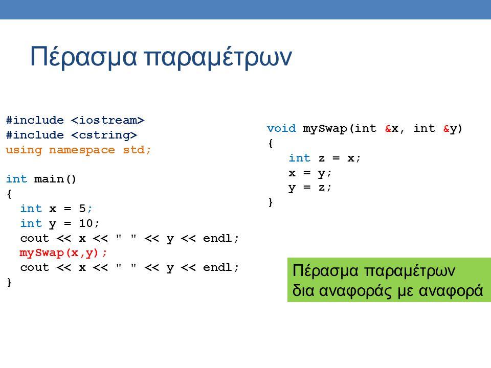 Πέρασμα παραμέτρων #include using namespace std; int main() { char *x = new char[100]; strcpy(x, this ); char *y = new char[100]; strcpy(y, that ); cout << x << << y << endl; mySwap(x,y); cout << x << << y << endl; } void mySwap(char *x, char *y) { char *z; z = x; x = y; y = z; cout <<x << << y << endl; } Τι έξοδο θα πάρουμε.