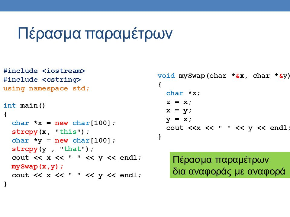 Πέρασμα παραμέτρων #include using namespace std; int main() { char *x = new char[100]; strcpy(x, this ); char *y = new char[100]; strcpy(y, that ); cout << x << << y << endl; mySwap(x,y); cout << x << << y << endl; } void mySwap(char *&x, char *&y) { char *z; z = x; x = y; y = z; cout <<x << << y << endl; } Πέρασμα παραμέτρων δια αναφοράς με αναφορά