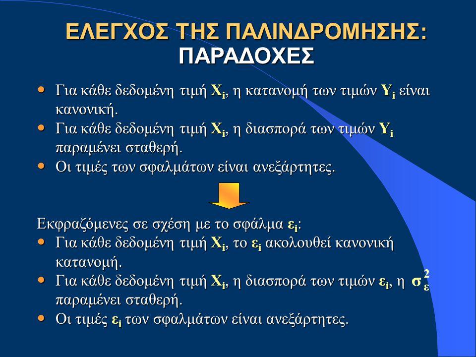 ΕΛΕΓΧΟΣ ΤΗΣ ΠΑΛΙΝΔΡΟΜΗΣΗΣ: ΠΑΡΑΔΟΧΕΣ Για κάθε δεδομένη τιμή Χ i, η κατανομή των τιμών Υ i είναι κανονική. Για κάθε δεδομένη τιμή Χ i, η κατανομή των τ