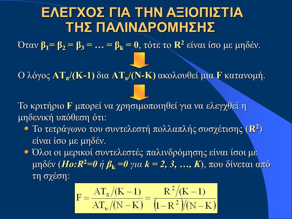 EΛΕΓΧΟΣ ΓΙΑ ΤΗΝ ΑΞΙΟΠΙΣΤΙΑ ΤΗΣ ΠΑΛΙΝΔΡΟΜΗΣΗΣ EΛΕΓΧΟΣ ΓΙΑ ΤΗΝ ΑΞΙΟΠΙΣΤΙΑ ΤΗΣ ΠΑΛΙΝΔΡΟΜΗΣΗΣ Όταν β 1 = β 2 = β 3 = … = β k = 0, τότε το R 2 είναι ίσο με