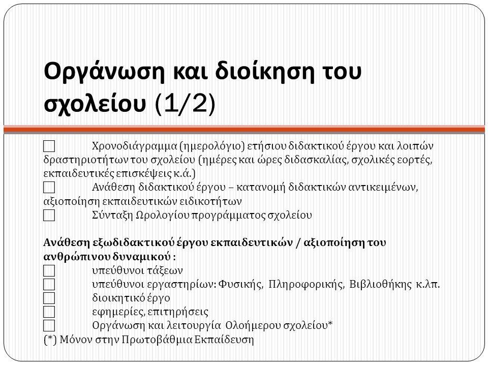 Οργάνωση και διοίκηση του σχολείου (1/2)  Χρονοδιάγραμμα ( ημερολόγιο ) ετήσιου διδακτικού έργου και λοιπών δραστηριοτήτων του σχολείου ( ημέρες και