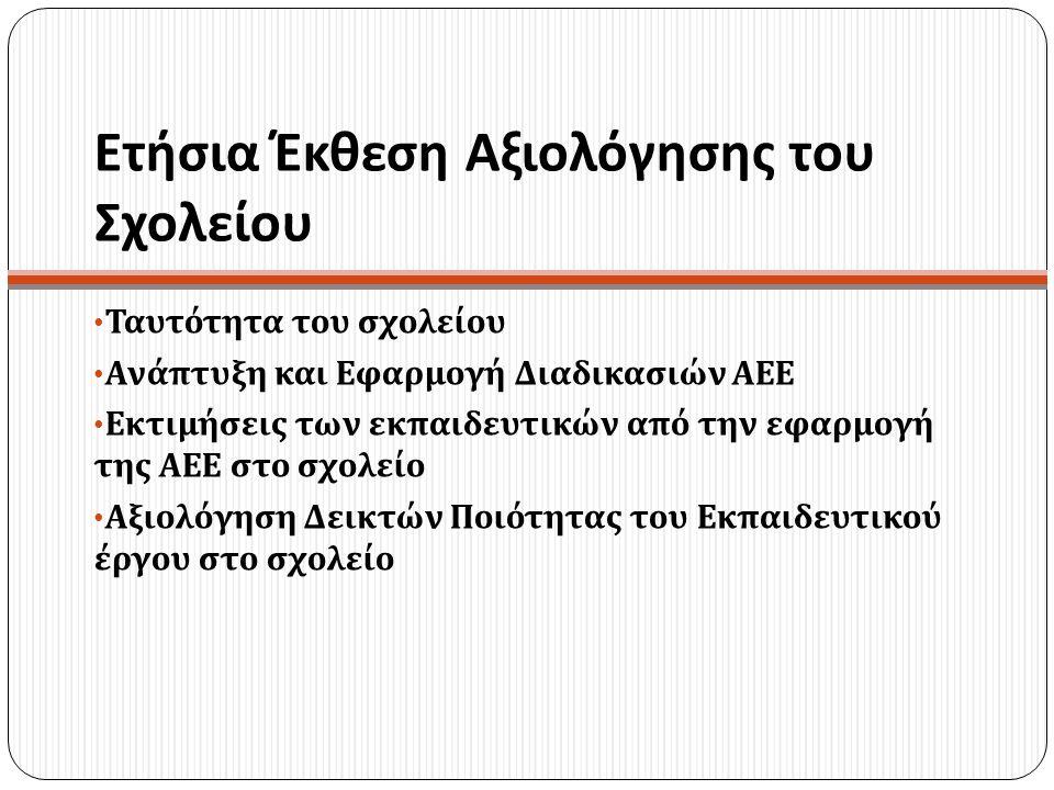 Ετήσια Έκθεση Αξιολόγησης του Σχολείου Ταυτότητα του σχολείου Ανάπτυξη και Εφαρμογή Διαδικασιών ΑΕΕ Εκτιμήσεις των εκπαιδευτικών από την εφαρμογή της