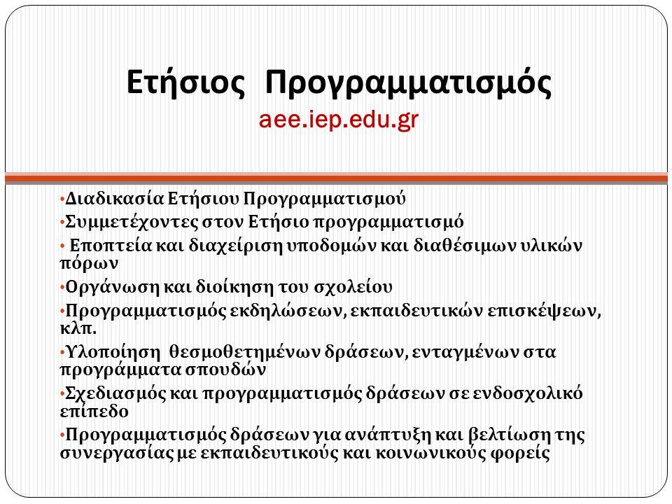 Ετήσιος Προγραμματισμός aee.iep.edu.gr Διαδικασία Ετήσιου Προγραμματισμού Συμμετέχοντες στον Ετήσιο προγραμματισμό Εποπτεία και διαχείριση υποδομών κα