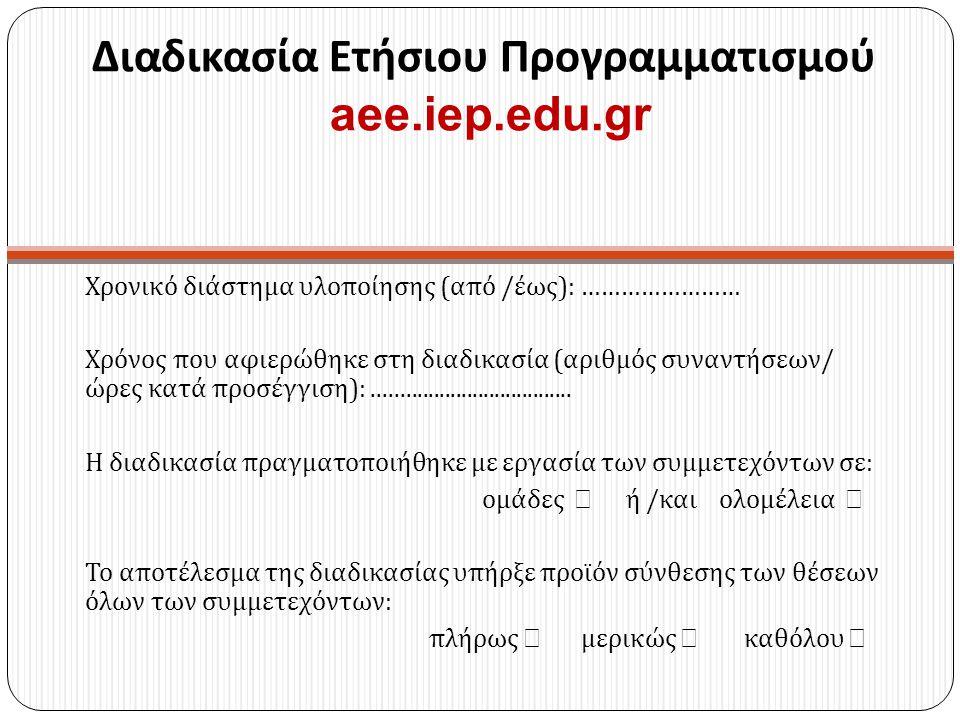 Διαδικασία Ετήσιου Προγραμματισμού aee.iep.edu.gr Χρονικό διάστημα υλοποίησης ( από / έως ): …………………… Χρόνος που αφιερώθηκε στη διαδικασία ( αριθμός σ