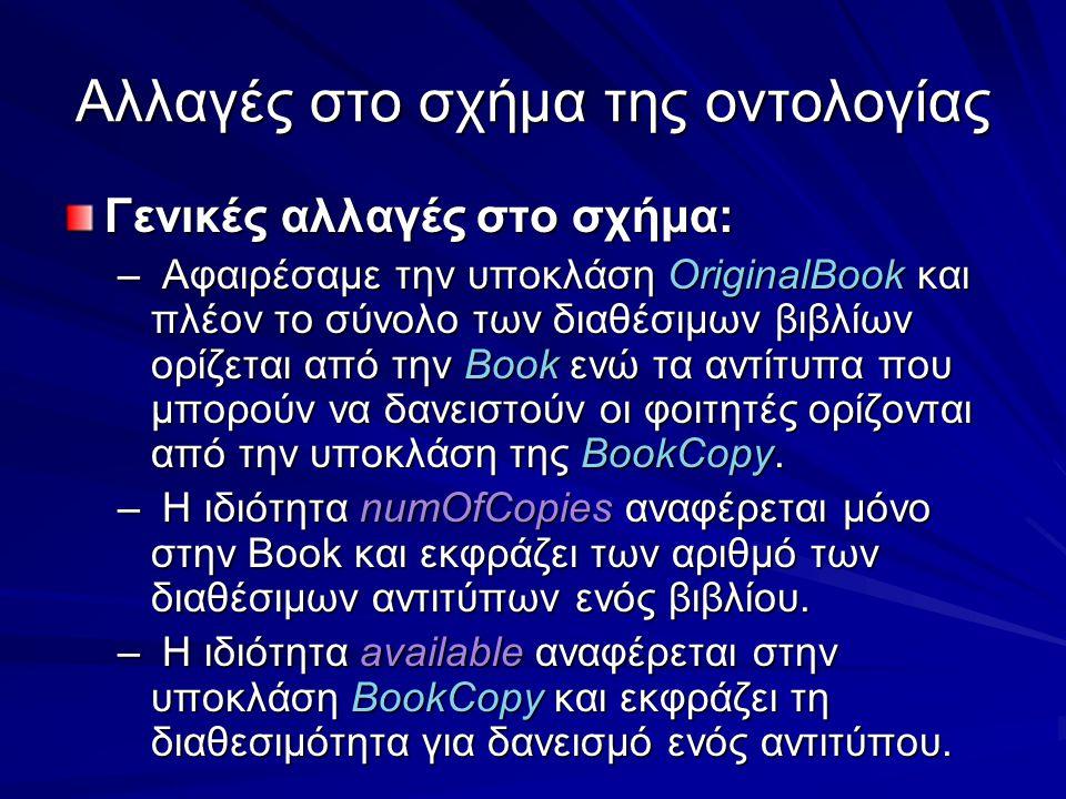 Αλλαγές στο σχήμα της οντολογίας Γενικές αλλαγές στο σχήμα: – Αφαιρέσαμε την υποκλάση OriginalBook και πλέον το σύνολο των διαθέσιμων βιβλίων ορίζεται από την Book ενώ τα αντίτυπα που μπορούν να δανειστούν οι φοιτητές ορίζονται από την υποκλάση της BookCopy.