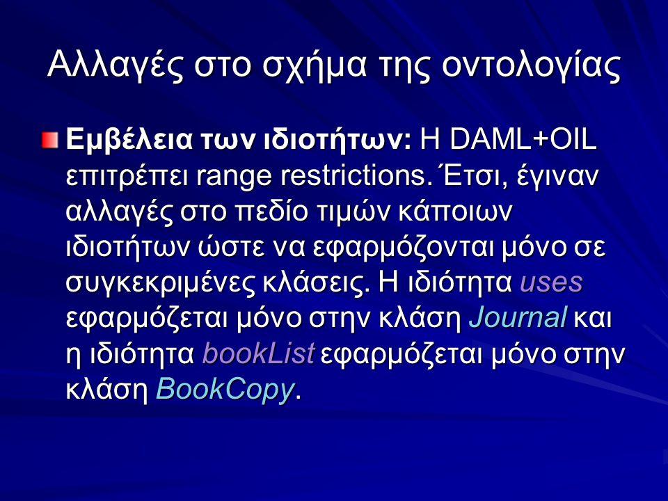 Αλλαγές στο σχήμα της οντολογίας Εμβέλεια των ιδιοτήτων: Η DAML+OIL επιτρέπει range restrictions.