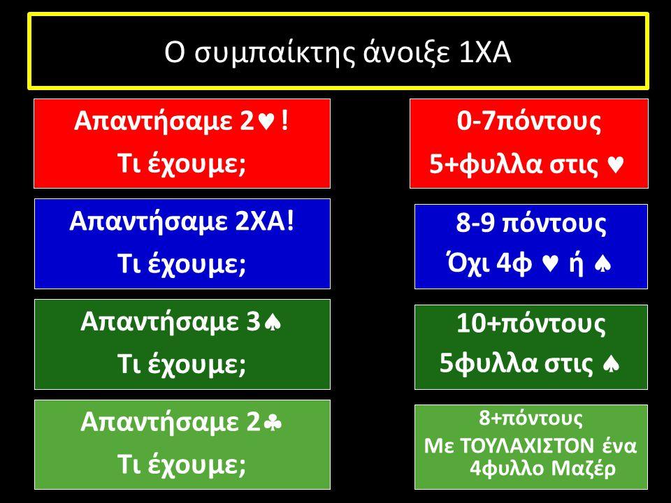 Ο συμπαίκτης άνοιξε 1ΧΑ Απαντήσαμε 2 ! Τι έχουμε; Απαντήσαμε 2ΧΑ! Τι έχουμε; Απαντήσαμε 3  Τι έχουμε; 0-7πόντους 5+φυλλα στις 8-9 πόντους Όχι 4φ ή 