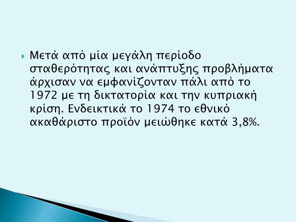  Μετά από μία μεγάλη περίοδο σταθερότητας και ανάπτυξης προβλήματα άρχισαν να εμφανίζονταν πάλι από το 1972 με τη δικτατορία και την κυπριακή κρίση.