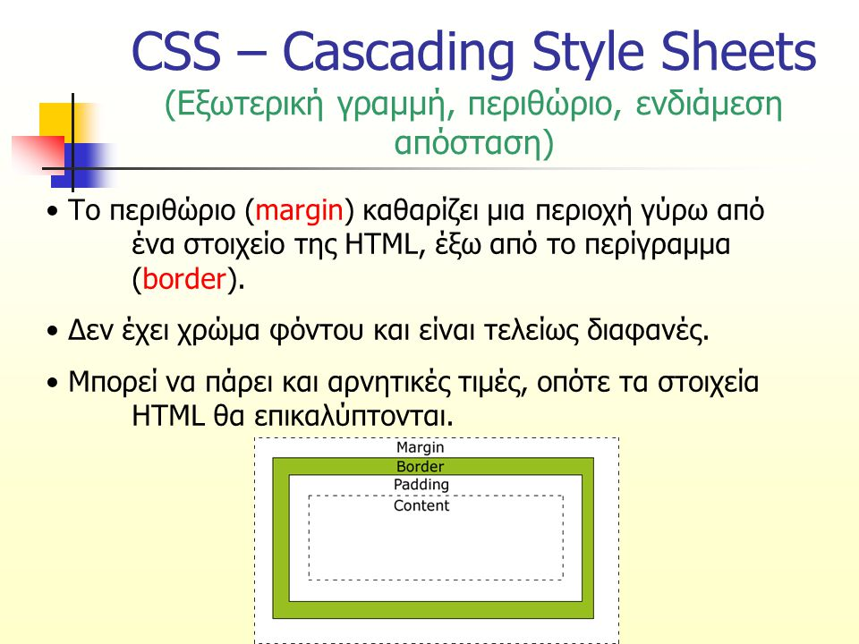 CSS – Cascading Style Sheets (Εξωτερική γραμμή, περιθώριο, ενδιάμεση απόσταση) Το περιθώριο (margin) καθαρίζει μια περιοχή γύρω από ένα στοιχείο της HTML, έξω από το περίγραμμα (border).