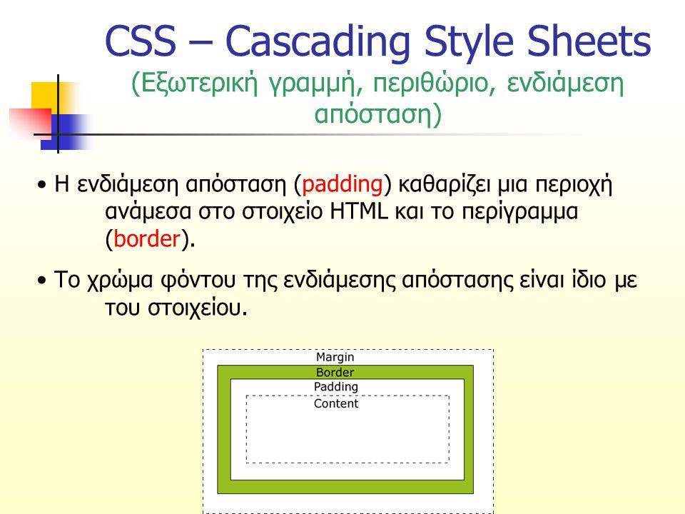 CSS – Cascading Style Sheets (Εξωτερική γραμμή, περιθώριο, ενδιάμεση απόσταση) Η ενδιάμεση απόσταση (padding) καθαρίζει μια περιοχή ανάμεσα στο στοιχείο HTML και το περίγραμμα (border).