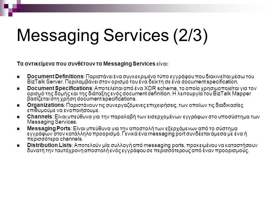 Messaging Services (2/3) Τα αντικείμενα που συνθέτουν τα Messaging Services είναι: Document Definitions: Παριστάνει ένα συγκεκριμένο τύπο εγγράφου που διακινείται μέσω του BizTalk Server.