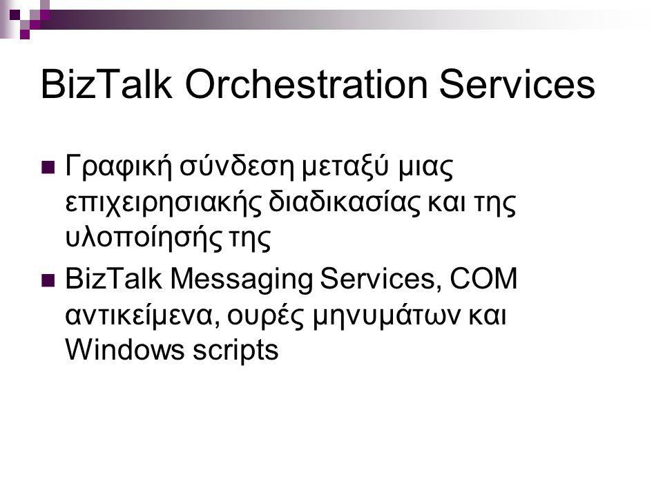 BizTalk Orchestration Services Γραφική σύνδεση μεταξύ μιας επιχειρησιακής διαδικασίας και της υλοποίησής της BizTalk Messaging Services, COM αντικείμενα, ουρές μηνυμάτων και Windows scripts