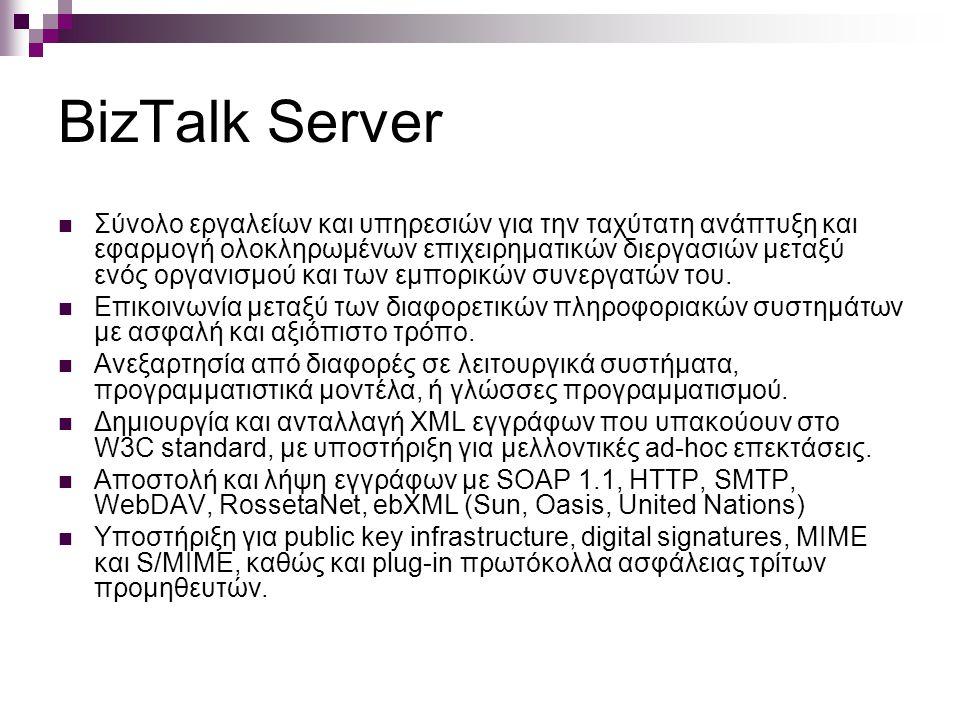 BizTalk Server Σύνολο εργαλείων και υπηρεσιών για την ταχύτατη ανάπτυξη και εφαρμογή ολοκληρωμένων επιχειρηματικών διεργασιών μεταξύ ενός οργανισμού και των εμπορικών συνεργατών του.