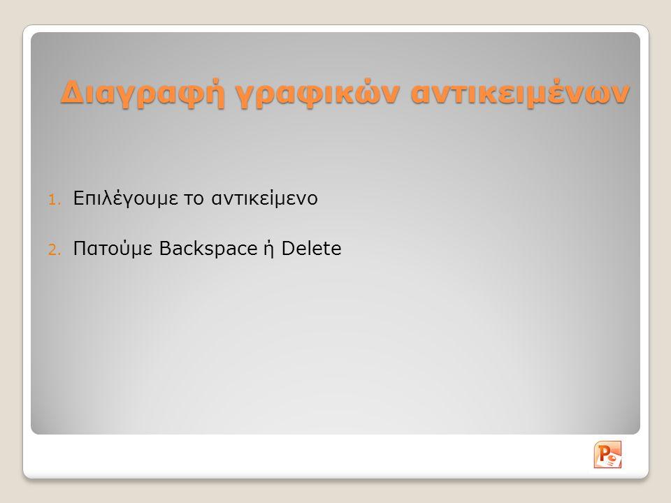 Διαγραφή γραφικών αντικειμένων 1. Επιλέγουμε το αντικείμενο 2. Πατούμε Backspace ή Delete