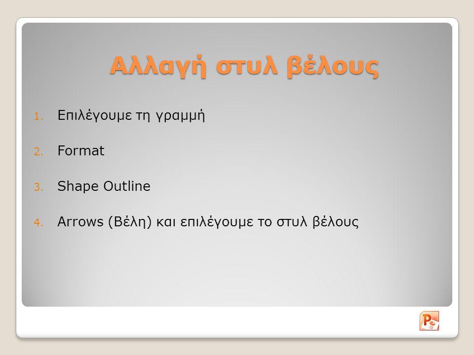 Αλλαγή στυλ βέλους 1. Επιλέγουμε τη γραμμή 2. Format 3. Shape Outline 4. Arrows (Βέλη) και επιλέγουμε το στυλ βέλους