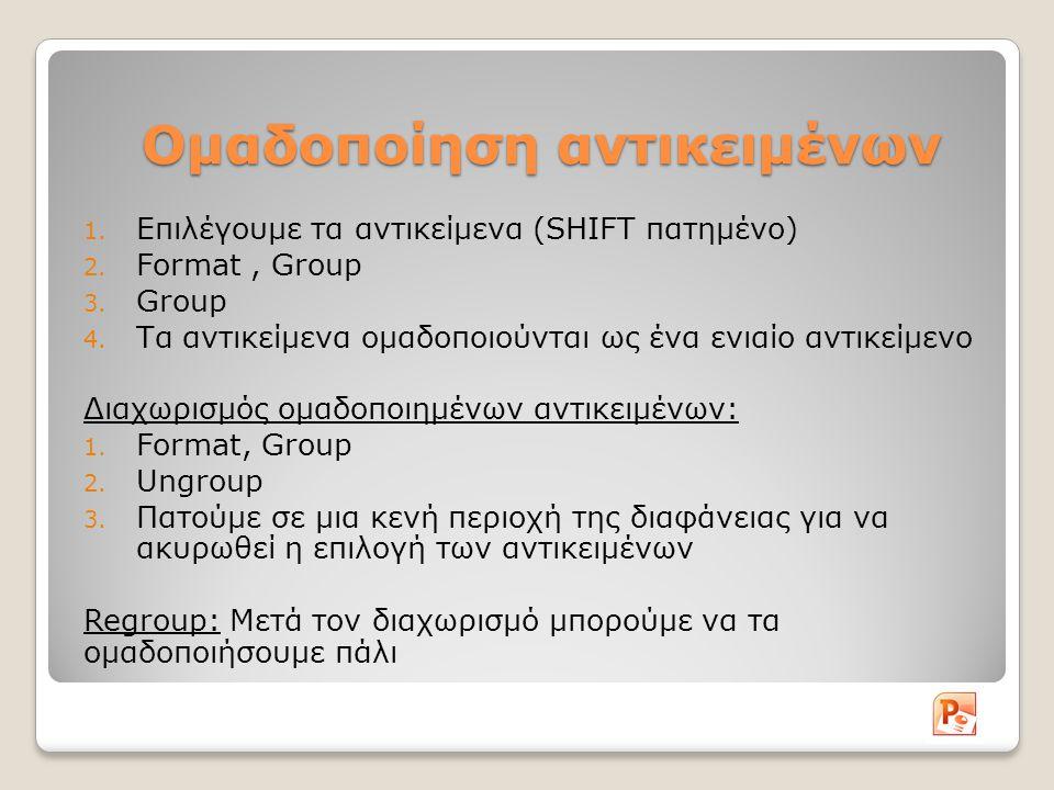 Ομαδοποίηση αντικειμένων 1. Επιλέγουμε τα αντικείμενα (SHIFT πατημένο) 2. Format, Group 3. Group 4. Τα αντικείμενα ομαδοποιούνται ως ένα ενιαίο αντικε