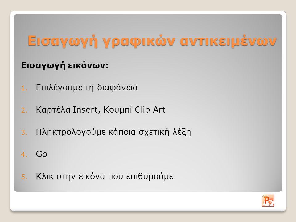 Εισαγωγή γραφικών αντικειμένων Εισαγωγή εικόνων: 1. Επιλέγουμε τη διαφάνεια 2. Καρτέλα Insert, Κουμπί Clip Art 3. Πληκτρολογούμε κάποια σχετική λέξη 4